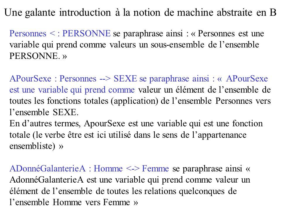 Personnes < : PERSONNE se paraphrase ainsi : « Personnes est une variable qui prend comme valeurs un sous-ensemble de lensemble PERSONNE. » APourSexe