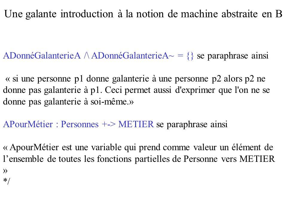 THEN Personnes := Personnes – {Pers}    APourSexe := {Pers} <   ApourSexe /* Le symbole ASCII <   est celui de lantirestriction de domaine.