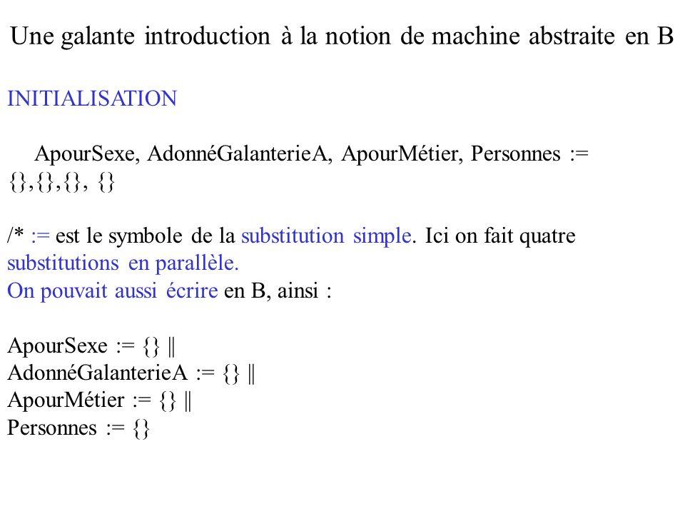 INITIALISATION ApourSexe, AdonnéGalanterieA, ApourMétier, Personnes := {},{},{}, {} /* := est le symbole de la substitution simple. Ici on fait quatre