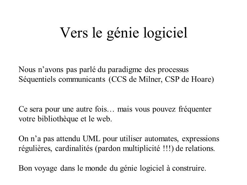 Vers le génie logiciel Nous navons pas parlé du paradigme des processus Séquentiels communicants (CCS de Milner, CSP de Hoare) Ce sera pour une autre