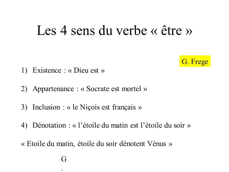 Les 4 sens du verbe « être » 1)Existence : « Dieu est » 2)Appartenance : « Socrate est mortel » 3)Inclusion : « le Niçois est français » 4)Dénotation
