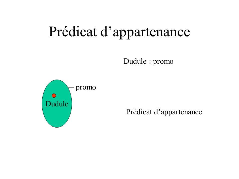 Prédicat dappartenance Dudule promo Dudule : promo Prédicat dappartenance