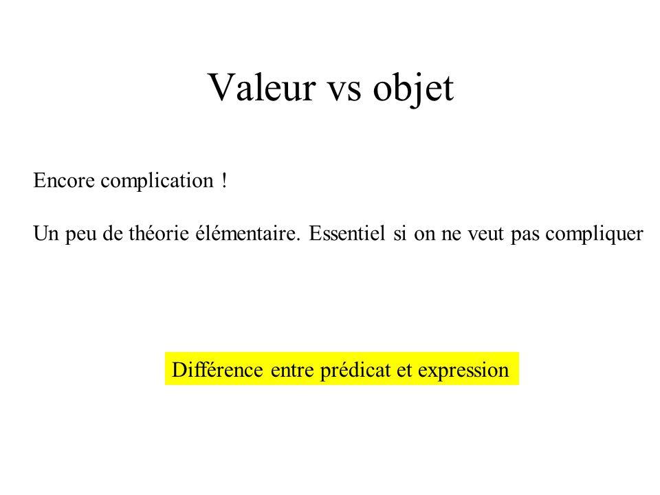 Valeur vs objet Encore complication ! Un peu de théorie élémentaire. Essentiel si on ne veut pas compliquer Différence entre prédicat et expression