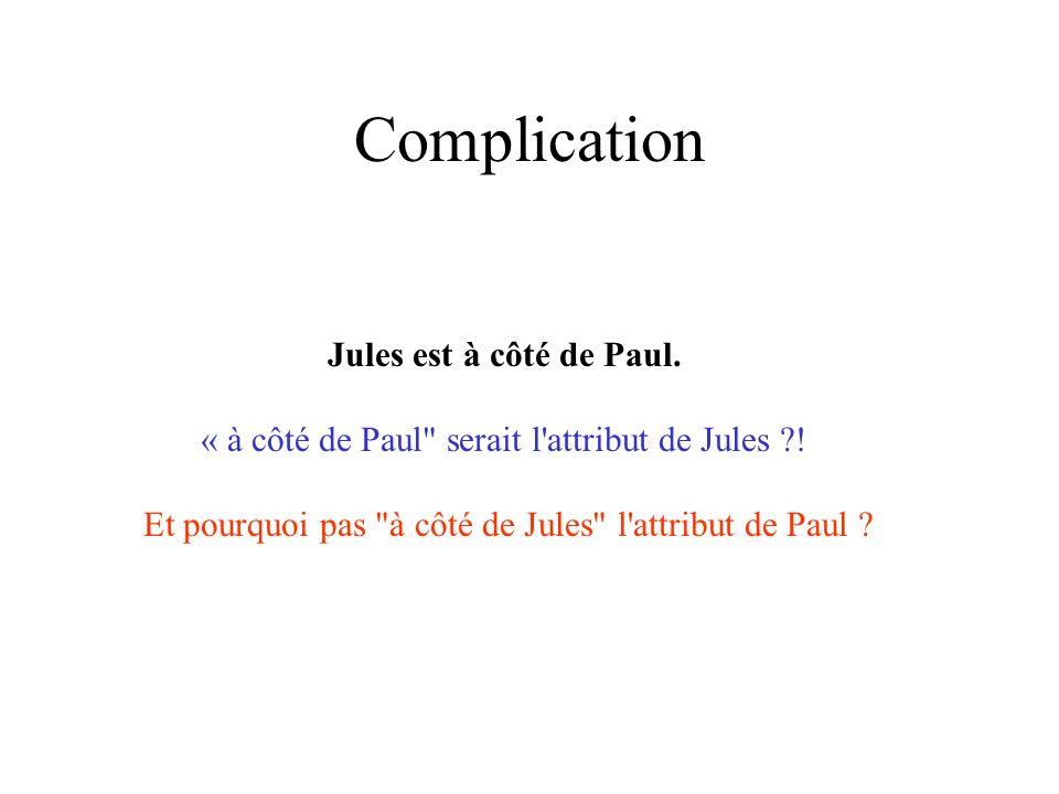 Complication Jules est à côté de Paul. « à côté de Paul