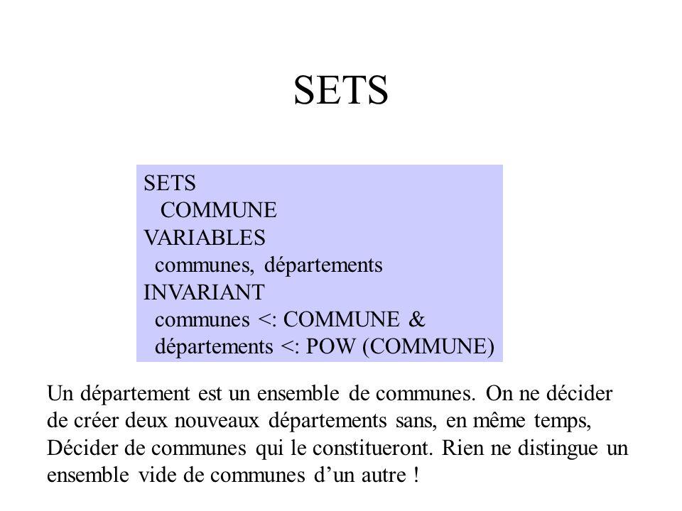 SETS COMMUNE VARIABLES communes, départements INVARIANT communes <: COMMUNE & départements <: POW (COMMUNE) Un département est un ensemble de communes