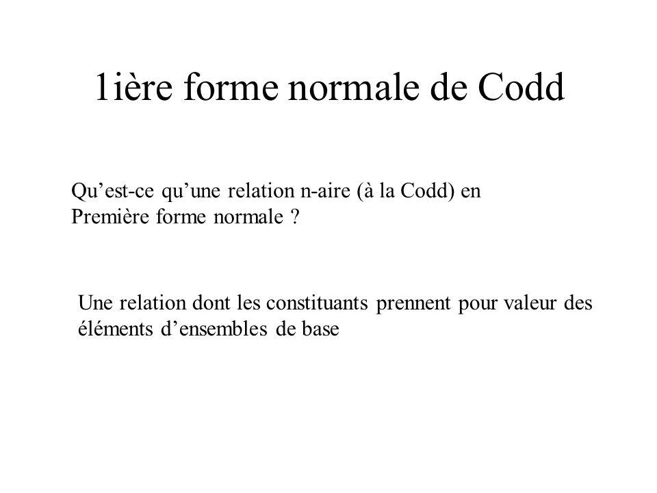 1ière forme normale de Codd Quest-ce quune relation n-aire (à la Codd) en Première forme normale ? Une relation dont les constituants prennent pour va