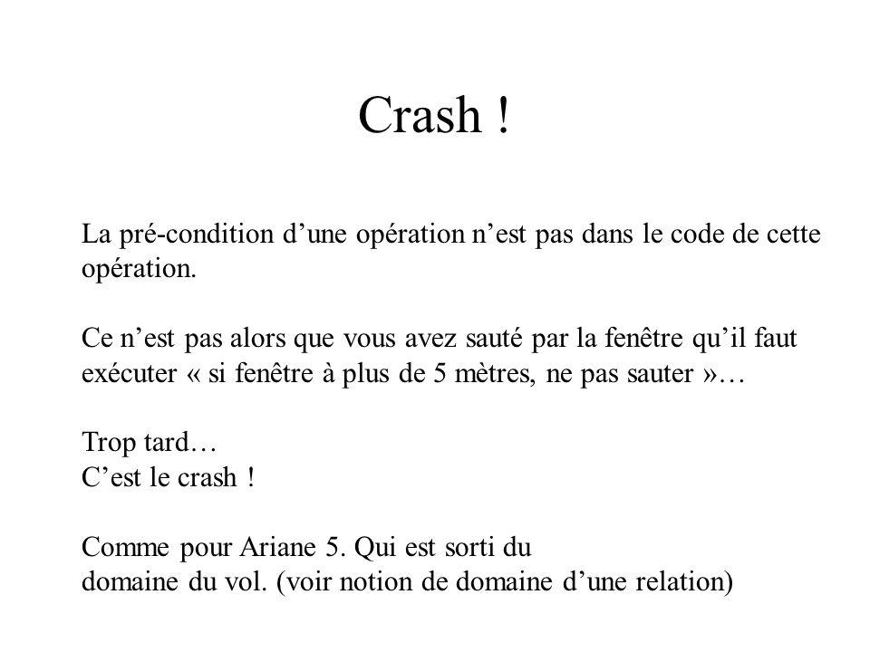 Crash ! La pré-condition dune opération nest pas dans le code de cette opération. Ce nest pas alors que vous avez sauté par la fenêtre quil faut exécu