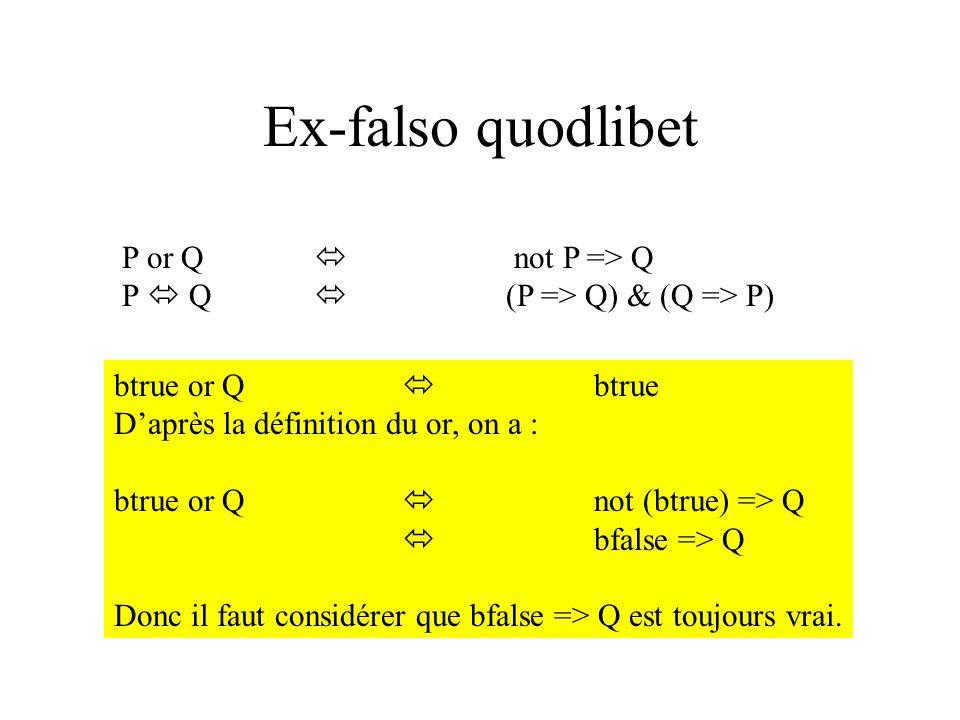 Ex-falso quodlibet P or Q not P => Q P Q (P => Q) & (Q => P) btrue or Q btrue Daprès la définition du or, on a : btrue or Q not (btrue) => Q bfalse =>