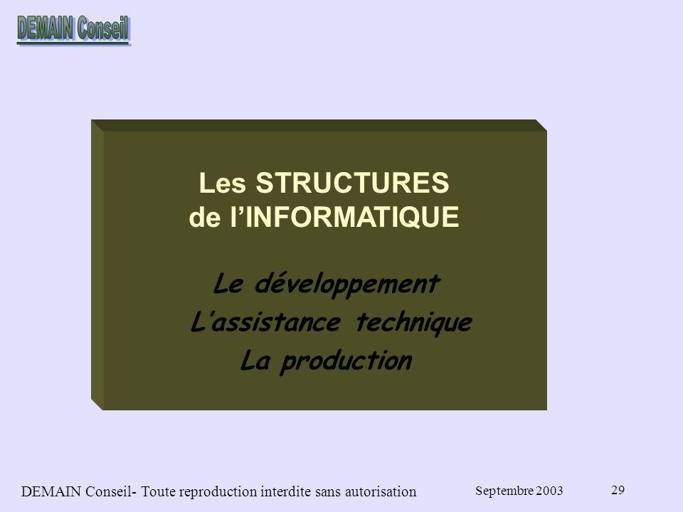 DEMAIN Conseil- Toute reproduction interdite sans autorisation Septembre 2003 29 Les STRUCTURES de lINFORMATIQUE Le développement Lassistance technique La production