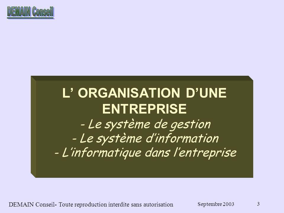 DEMAIN Conseil- Toute reproduction interdite sans autorisation Septembre 2003 3 L ORGANISATION DUNE ENTREPRISE - Le système de gestion - Le système dinformation - Linformatique dans lentreprise