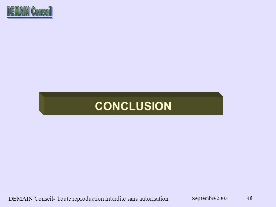 DEMAIN Conseil- Toute reproduction interdite sans autorisation Septembre 2003 48 CONCLUSION