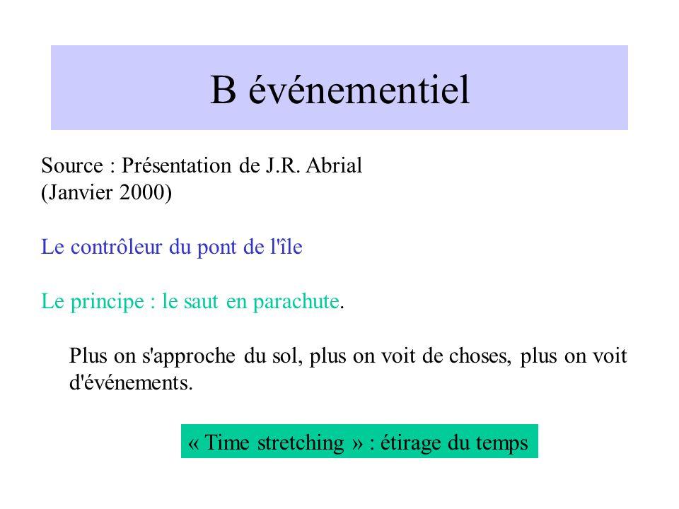 B événementiel Source : Présentation de J.R.