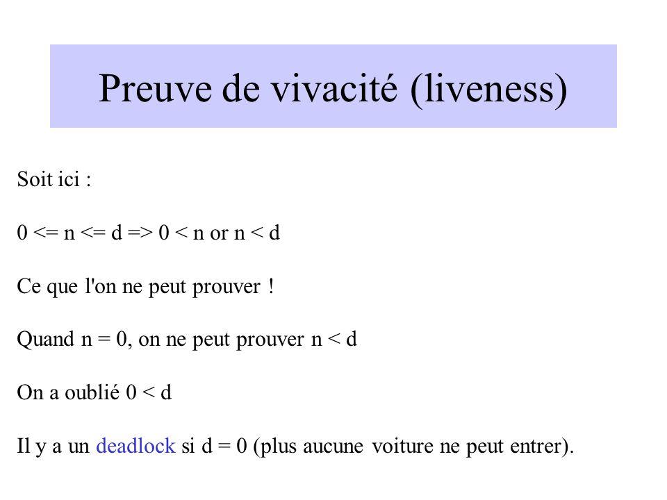 Preuve de vivacité (liveness) Soit ici : 0 0 < n or n < d Ce que l on ne peut prouver .
