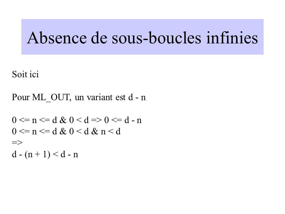 Absence de sous-boucles infinies Soit ici Pour ML_OUT, un variant est d - n 0 0 <= d - n 0 <= n <= d & 0 < d & n < d => d - (n + 1) < d - n