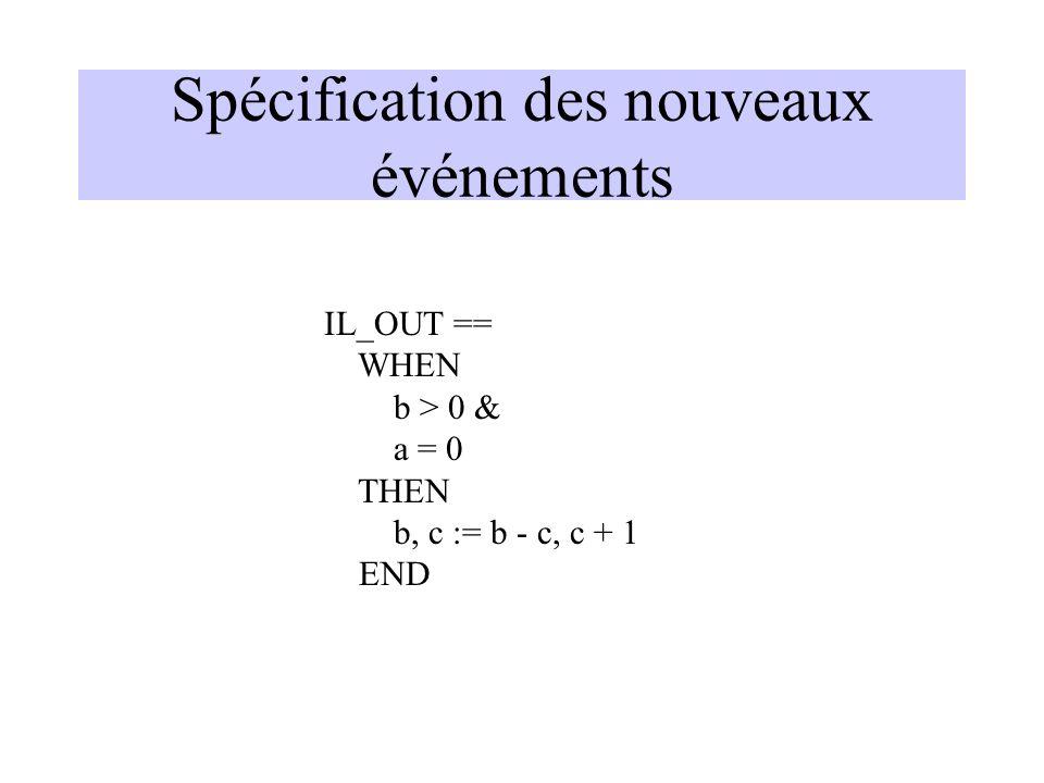 Spécification des nouveaux événements IL_OUT == WHEN b > 0 & a = 0 THEN b, c := b - c, c + 1 END