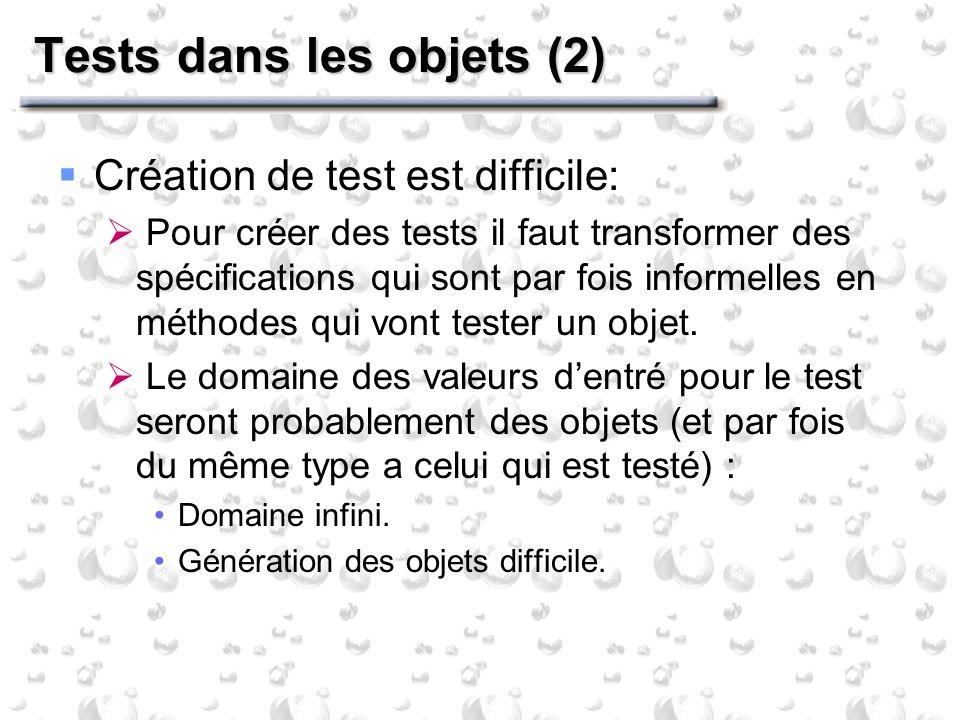 Tests dans les objets (2) Création de test est difficile: Pour créer des tests il faut transformer des spécifications qui sont par fois informelles en méthodes qui vont tester un objet.