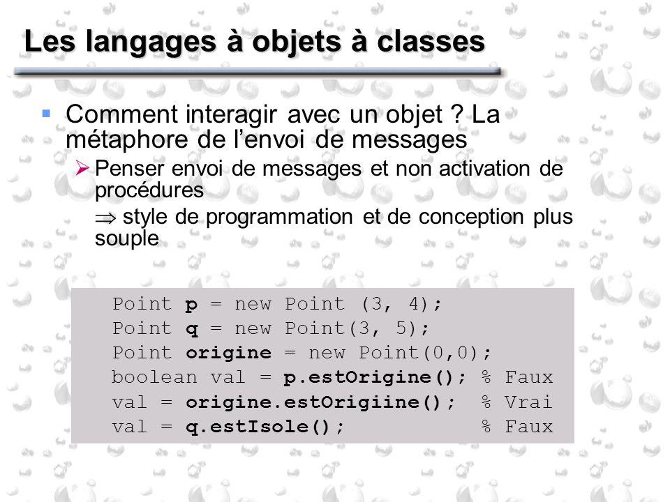 Les langages à objets à classes Comment interagir avec un objet .