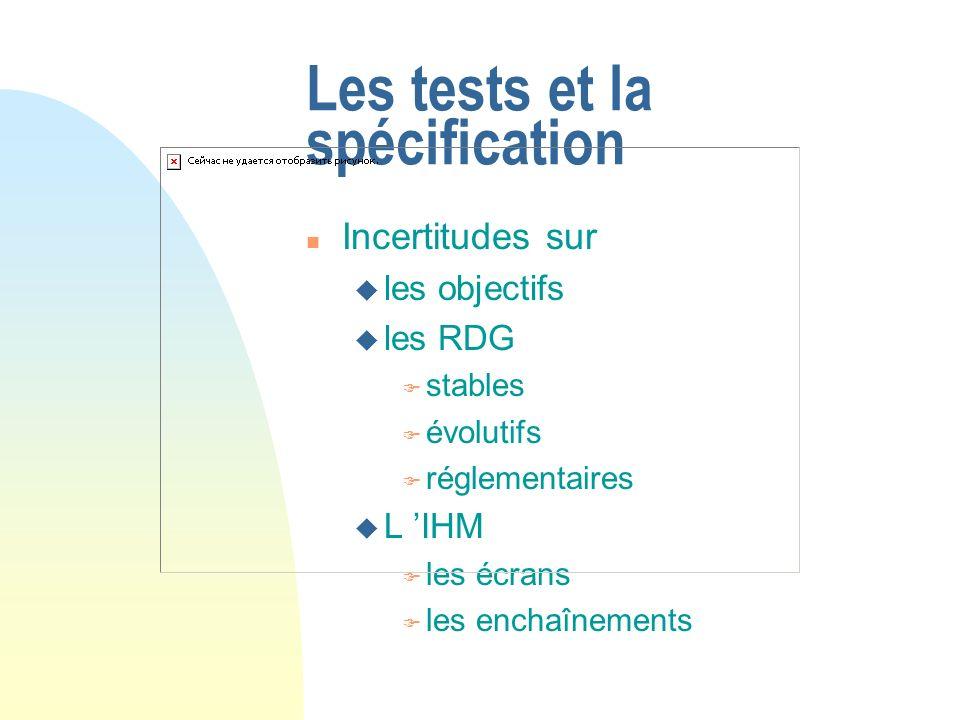 Les tests et la spécification n Incertitudes sur u les objectifs u les RDG F stables F évolutifs F réglementaires u L IHM F les écrans F les enchaînem