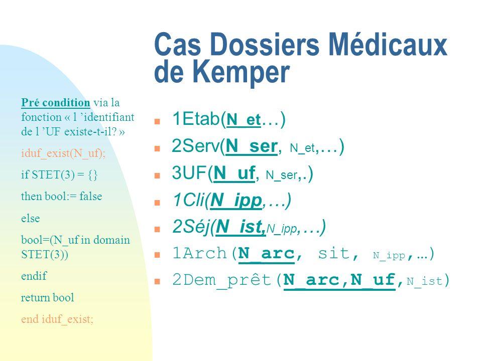 Cas Dossiers Médicaux de Kemper n 1Etab( N_et …) n 2Serv(N_ser, N_et,…) n 3UF(N_uf, N_ser,.) n 1Cli(N_ipp,…) n 2Séj(N_ist, N_ipp,…) n 1Arch(N_arc, sit, N_ipp,…) n 2Dem_prêt(N_arc,N_uf, N_ist ) Pré condition via la fonction « l identifiant de l UF existe-t-il.