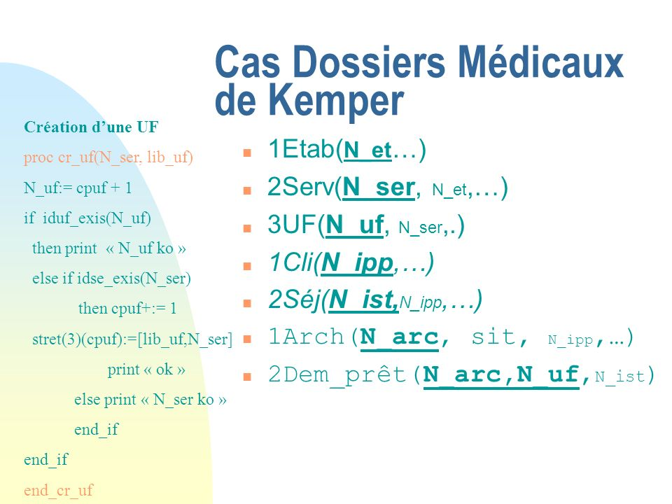 Cas Dossiers Médicaux de Kemper n 1Etab( N_et …) n 2Serv(N_ser, N_et,…) n 3UF(N_uf, N_ser,.) n 1Cli(N_ipp,…) n 2Séj(N_ist, N_ipp,…) n 1Arch(N_arc, sit, N_ipp,…) n 2Dem_prêt(N_arc,N_uf, N_ist ) Création dune UF proc cr_uf(N_ser, lib_uf) N_uf:= cpuf + 1 if iduf_exis(N_uf) then print « N_uf ko » else if idse_exis(N_ser) then cpuf+:= 1 stret(3)(cpuf):=[lib_uf,N_ser] print « ok » else print « N_ser ko » end_if end_cr_uf