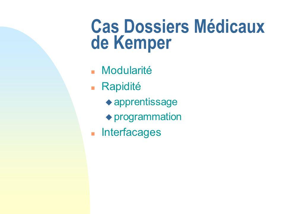Cas Dossiers Médicaux de Kemper n Modularité n Rapidité u apprentissage u programmation n Interfacages