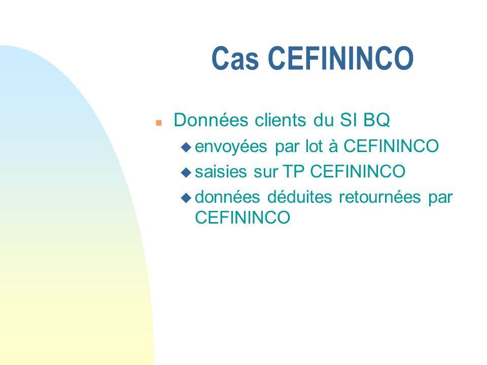 Cas CEFININCO n Données clients du SI BQ u envoyées par lot à CEFININCO u saisies sur TP CEFININCO u données déduites retournées par CEFININCO
