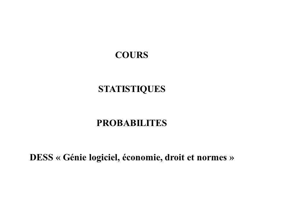 COURS STATISTIQUES PROBABILITES DESS « Génie logiciel, économie, droit et normes »