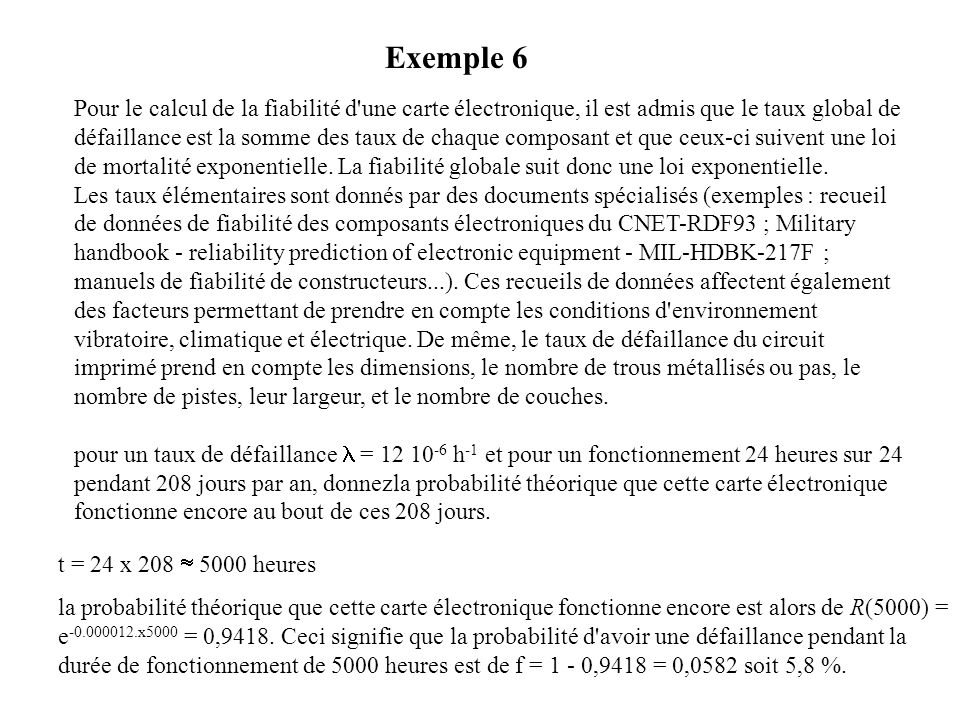 Pour le calcul de la fiabilité d'une carte électronique, il est admis que le taux global de défaillance est la somme des taux de chaque composant et q