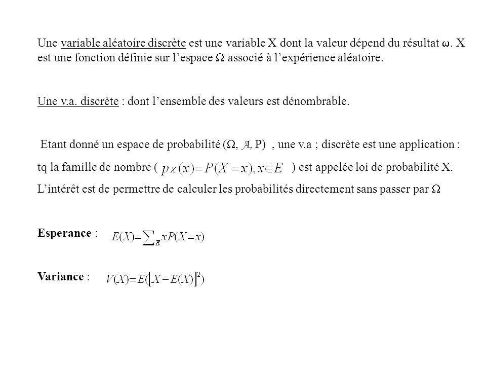 Une variable aléatoire discrète est une variable X dont la valeur dépend du résultat. X est une fonction définie sur lespace associé à lexpérience alé