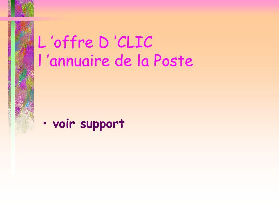 L offre D CLIC l annuaire de la Poste voir support