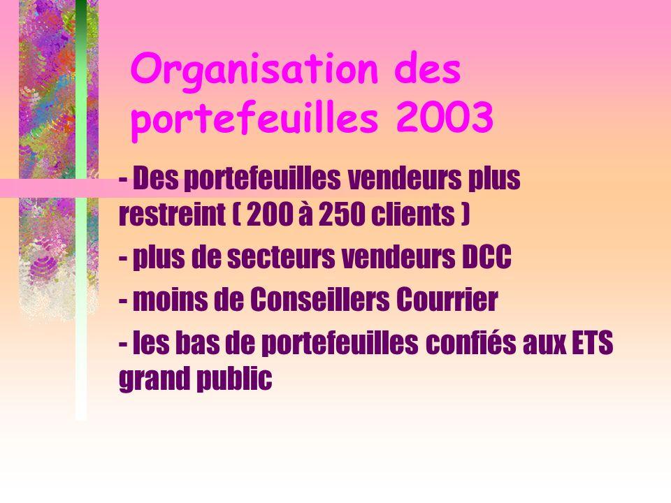 Organisation des portefeuilles 2003 - Des portefeuilles vendeurs plus restreint ( 200 à 250 clients ) - plus de secteurs vendeurs DCC - moins de Conse