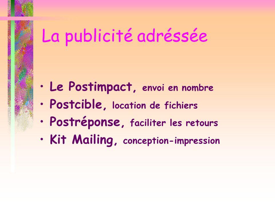 La publicité adréssée Le Postimpact, envoi en nombre Postcible, location de fichiers Postréponse, faciliter les retours Kit Mailing, conception-impres