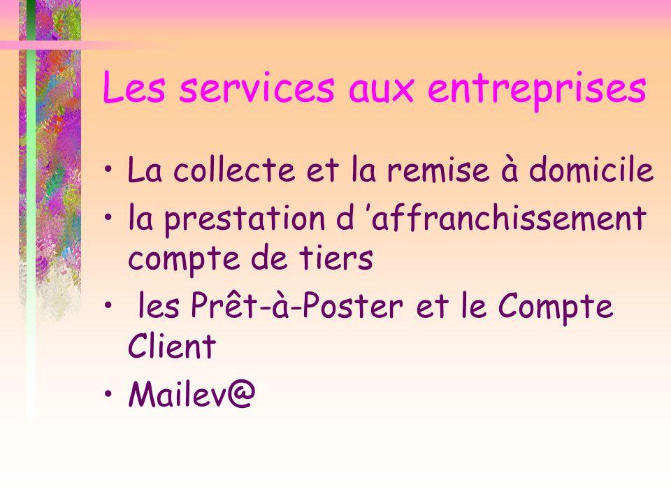 Les services aux entreprises La collecte et la remise à domicile la prestation d affranchissement compte de tiers les Prêt-à-Poster et le Compte Clien