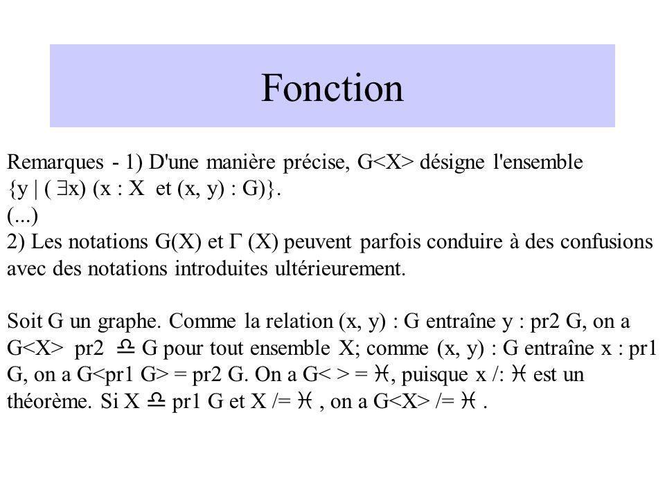 Fonction Remarques - 1) D'une manière précise, G désigne l'ensemble {y | ( x) (x : X et (x, y) : G)}. (...) 2) Les notations G(X) et (X) peuvent parfo