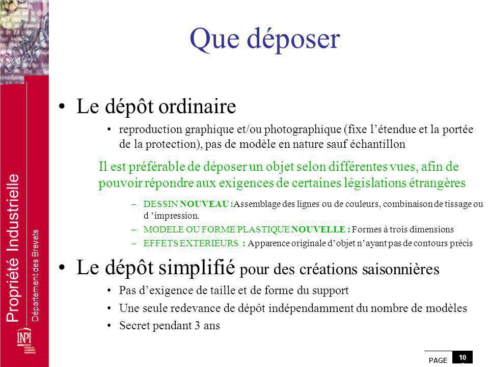 PAGE 10 0 Propriété Industrielle Département des Brevets Que déposer Le dépôt ordinaire reproduction graphique et/ou photographique (fixe létendue et