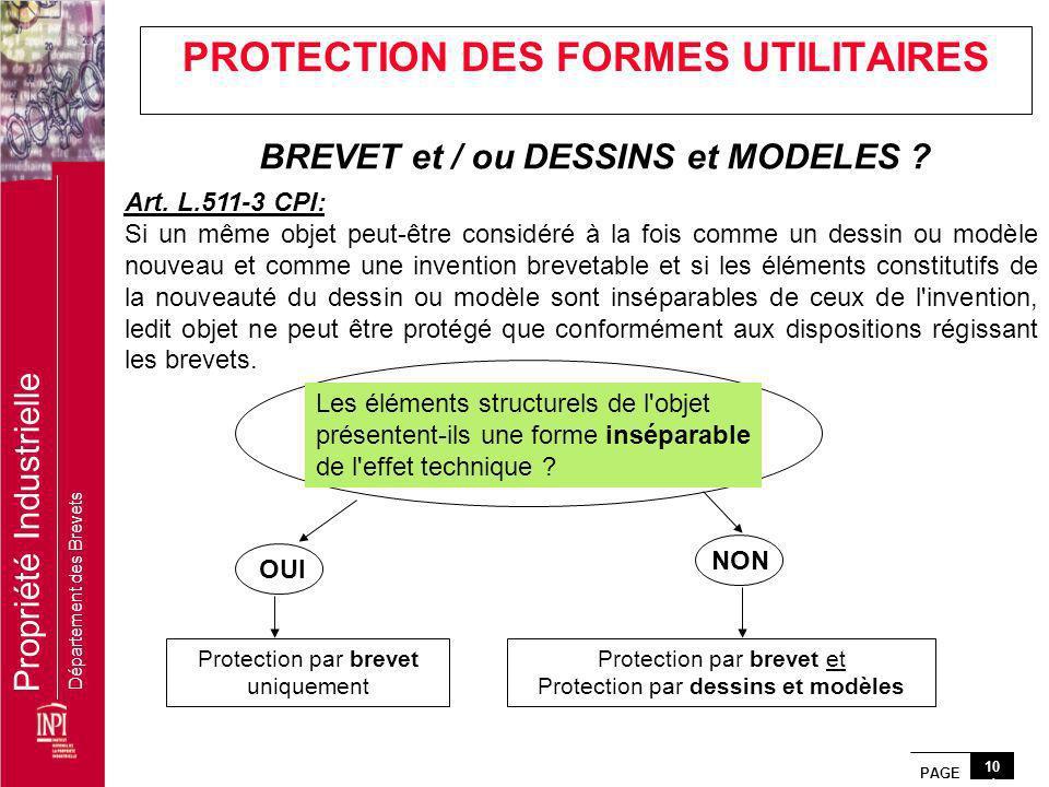 PAGE 10 1 Propriété Industrielle Département des Brevets Art. L.511-3 CPI: Si un même objet peut-être considéré à la fois comme un dessin ou modèle no