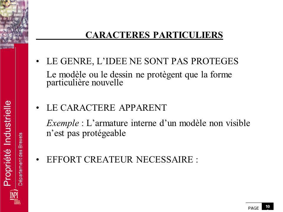 PAGE 10 3 Propriété Industrielle Département des Brevets CARACTERES PARTICULIERS LE GENRE, LIDEE NE SONT PAS PROTEGES Le modèle ou le dessin ne protèg