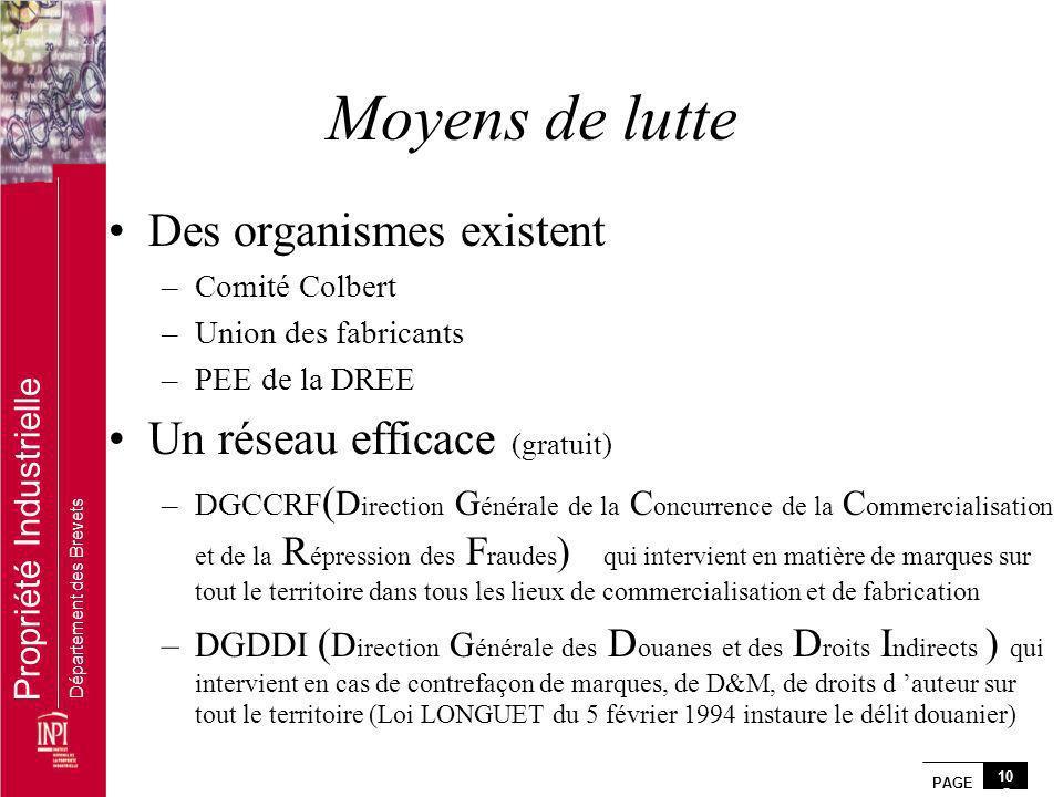 PAGE 10 5 Propriété Industrielle Département des Brevets Moyens de lutte Des organismes existent –Comité Colbert –Union des fabricants –PEE de la DREE