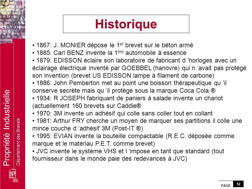 PAGE 12 Propriété Industrielle Département des Brevets 1867: J. MONIER dépose le 1 er brevet sur le béton armé 1885: Carl BENZ invente la 1 ère automo