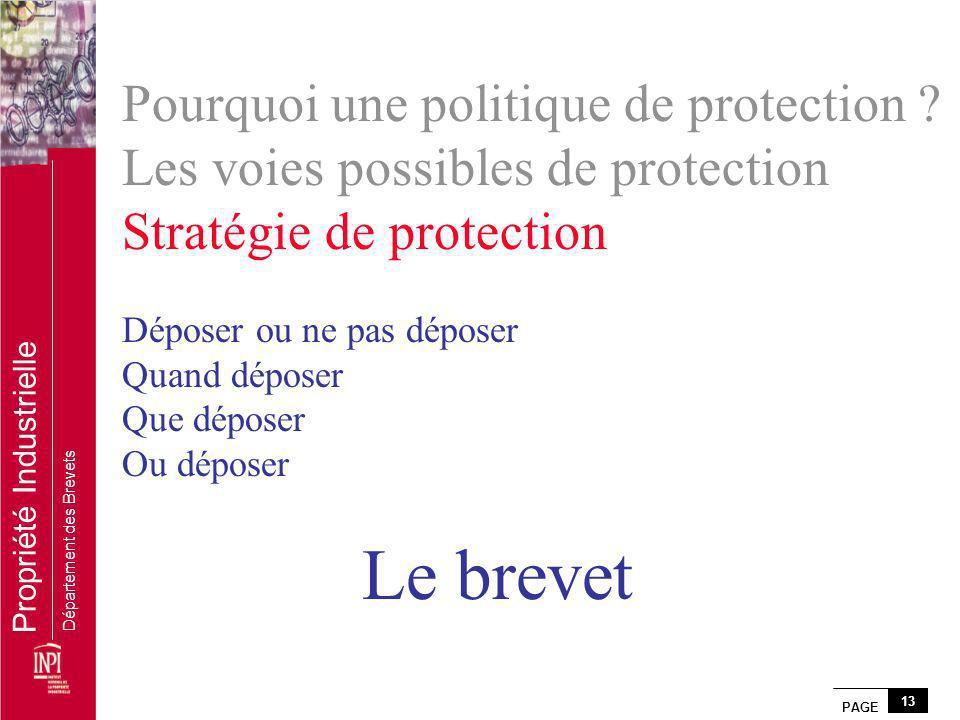 PAGE 13 Propriété Industrielle Département des Brevets Pourquoi une politique de protection ? Les voies possibles de protection Stratégie de protectio