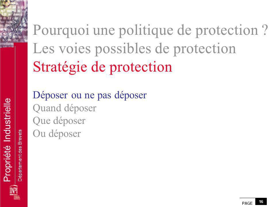 PAGE 16 Propriété Industrielle Département des Brevets Pourquoi une politique de protection ? Les voies possibles de protection Stratégie de protectio