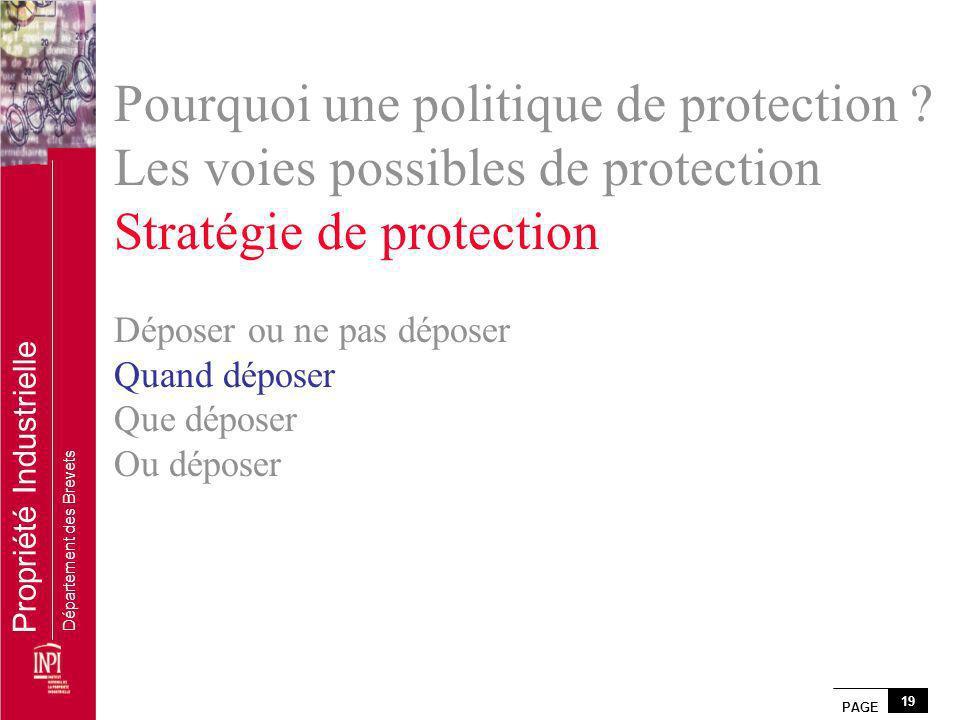 PAGE 19 Propriété Industrielle Département des Brevets Pourquoi une politique de protection ? Les voies possibles de protection Stratégie de protectio