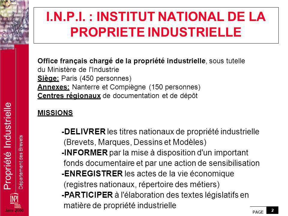 PAGE 2 Propriété Industrielle Département des Brevets Office français chargé de la propriété industrielle, sous tutelle du Ministère de l'Industrie Si
