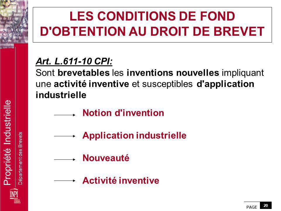 PAGE 20 Propriété Industrielle Département des Brevets Art. L.611-10 CPI: Sont brevetables les inventions nouvelles impliquant une activité inventive