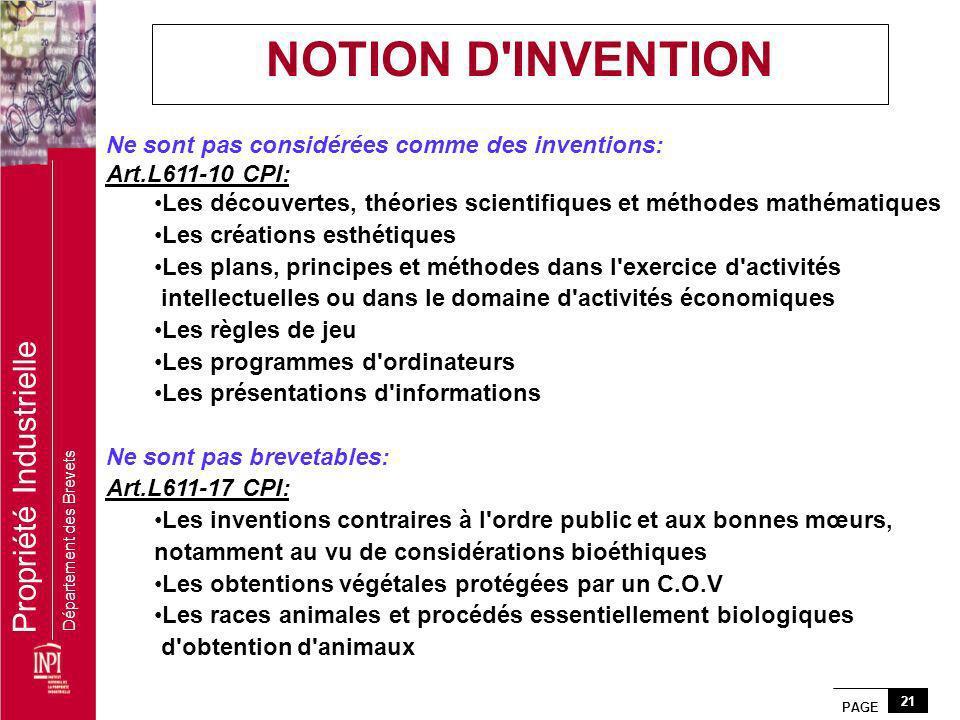 PAGE 21 Propriété Industrielle Département des Brevets Ne sont pas considérées comme des inventions: Art.L611-10 CPI: Les découvertes, théories scient