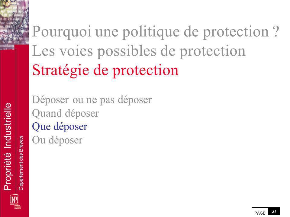 PAGE 27 Propriété Industrielle Département des Brevets Pourquoi une politique de protection ? Les voies possibles de protection Stratégie de protectio