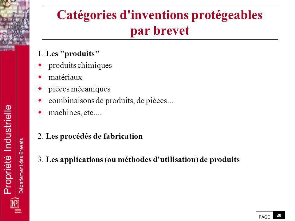 PAGE 28 Propriété Industrielle Département des Brevets Catégories d'inventions protégeables par brevet 1. Les
