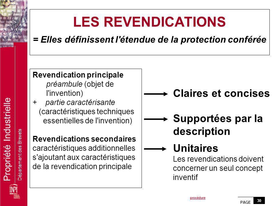 PAGE 30 Propriété Industrielle Département des Brevets Revendication principale préambule (objet de l'invention) + partie caractérisante (caractéristi