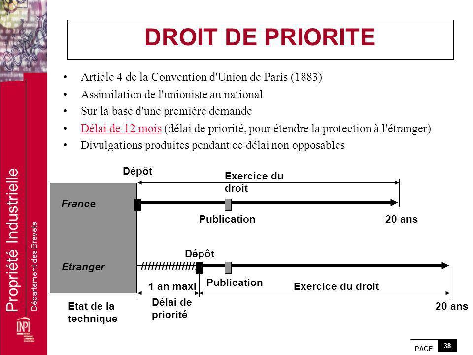 PAGE 38 Propriété Industrielle Département des Brevets Article 4 de la Convention d'Union de Paris (1883) Assimilation de l'unioniste au national Sur