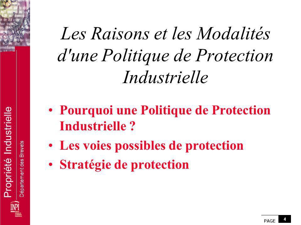 PAGE 4 Propriété Industrielle Département des Brevets Les Raisons et les Modalités d'une Politique de Protection Industrielle Pourquoi une Politique d